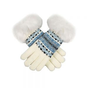 KNITTED GLOVES WITH FAIRISLE PRINT WINTER WHITE - ONE SIZE