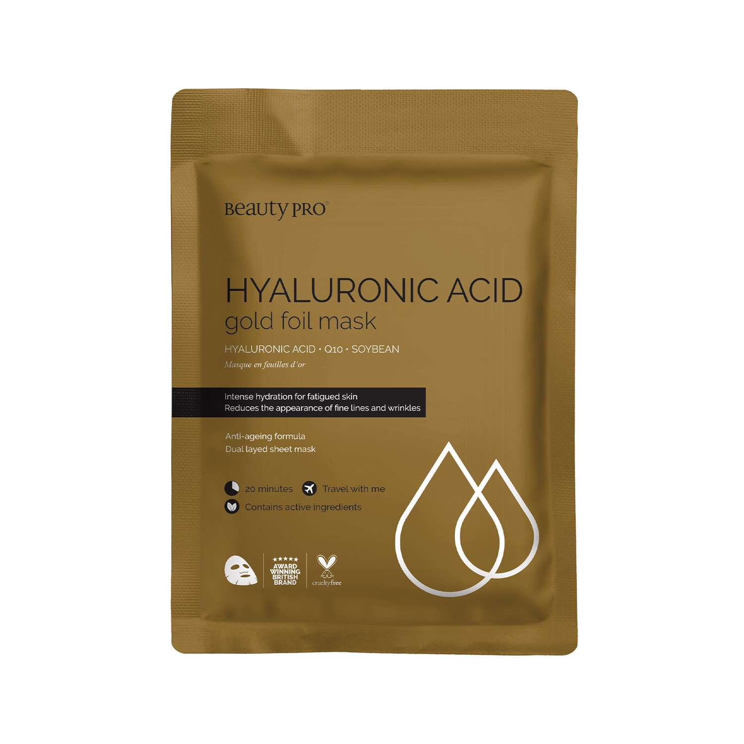 HYALURONIC ACID & Q10 Gold Foil Mask 25ml