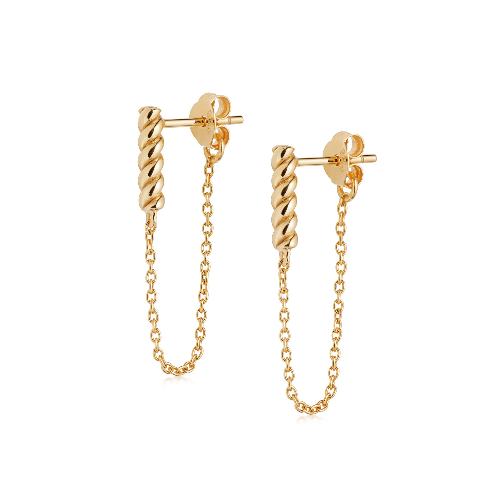 Stacked Rope and Chain Drop Earrings GOLD