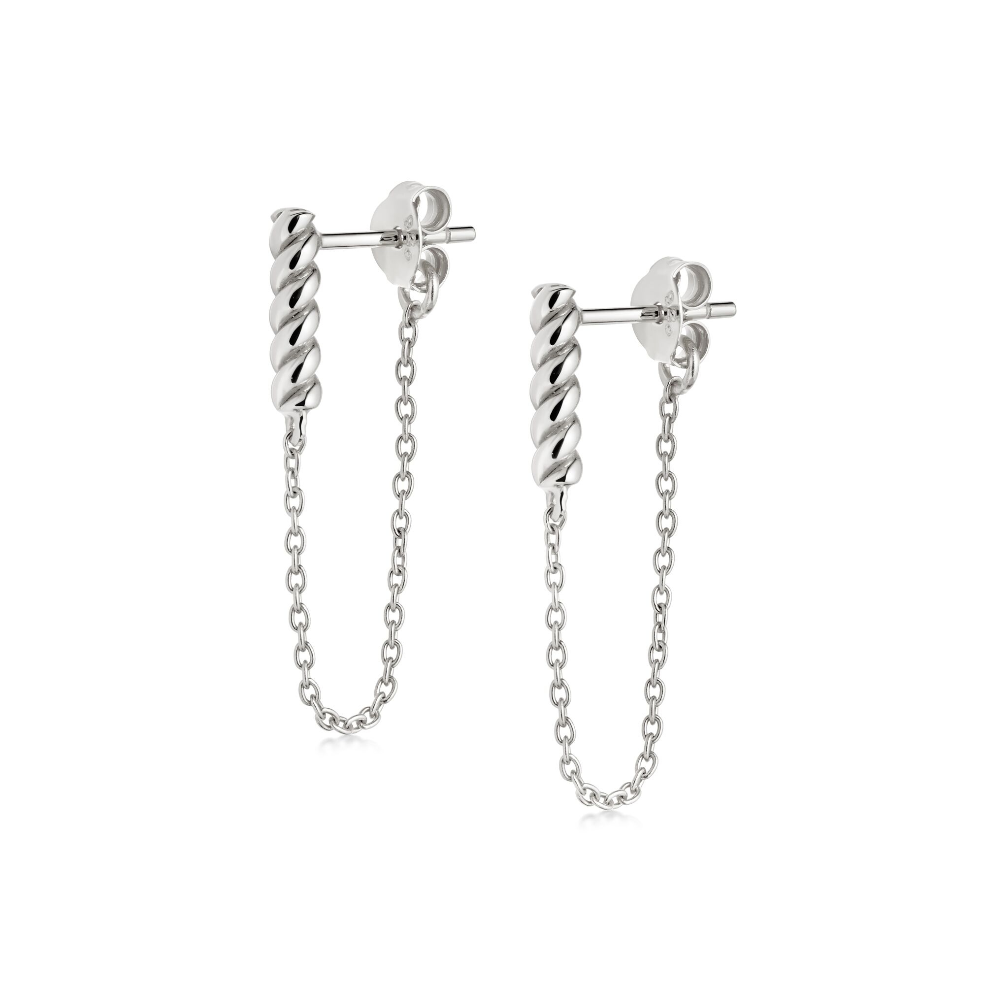 Stacked Rope and Chain Drop Earrings SILVER