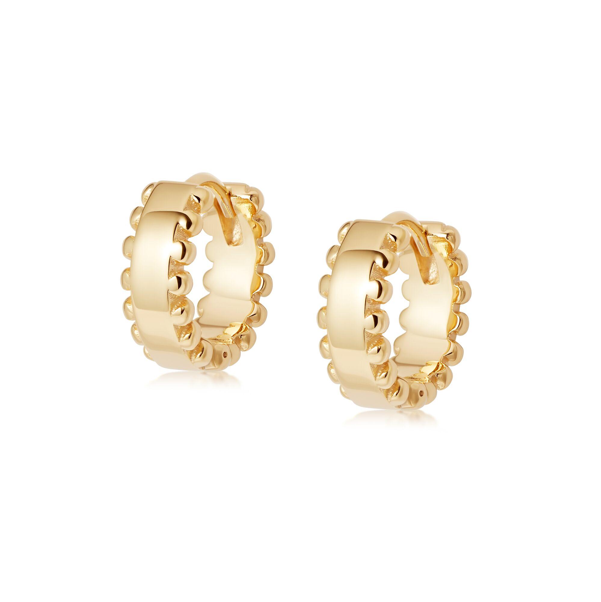 Stacked Beaded Hoop Huggie Earrings  GOLD