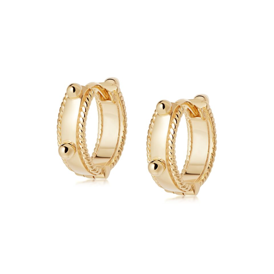 Stacked Beaded Eternity Huggie Earrings GOLD
