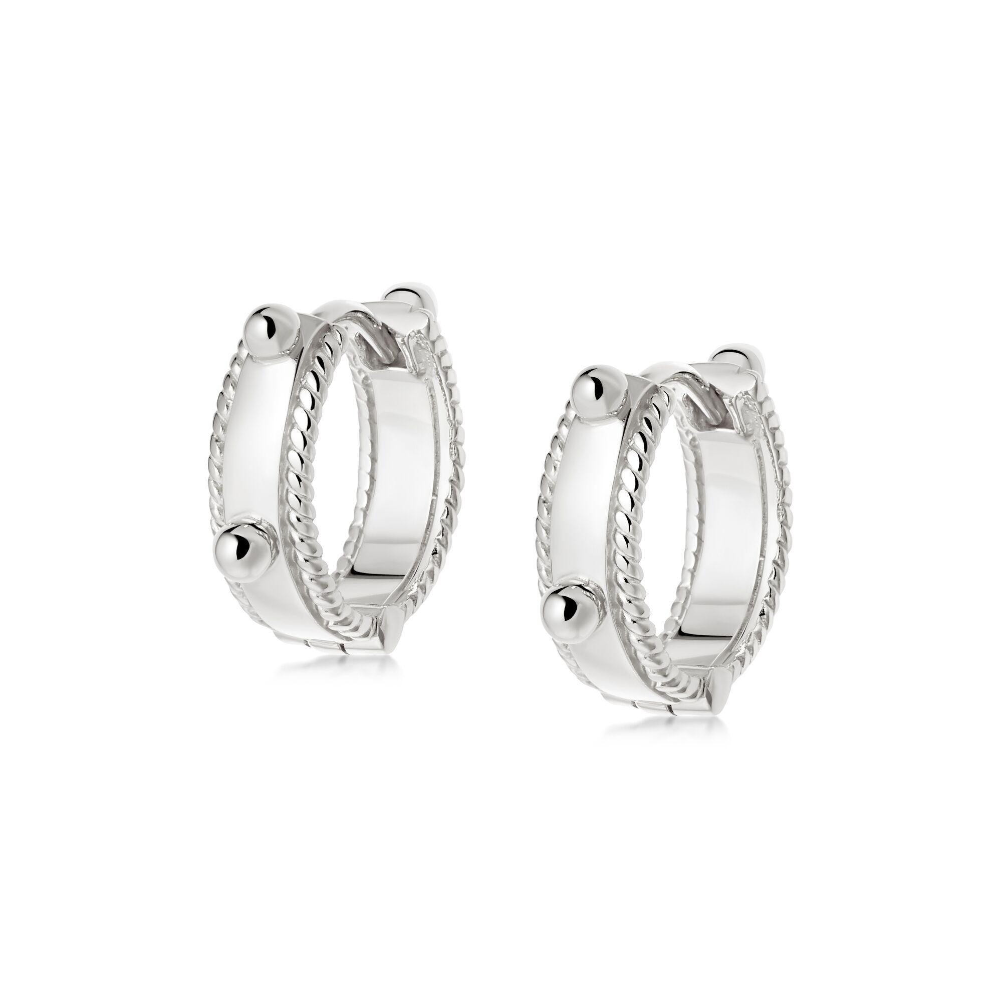 Stacked Beaded Eternity Huggie Earrings  SILVER
