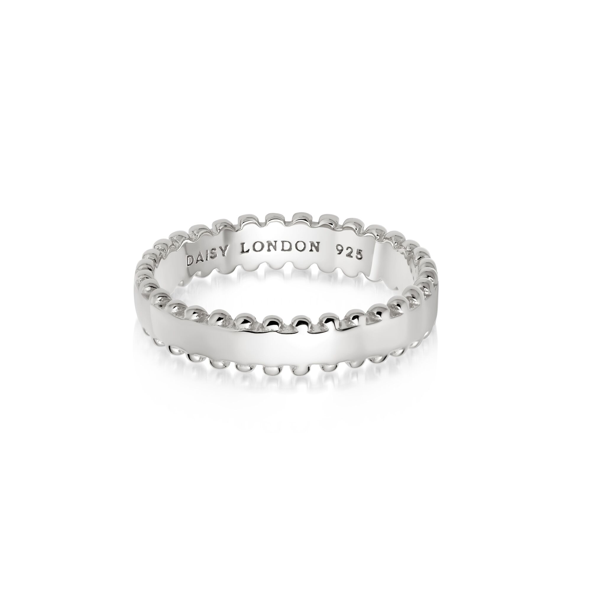 Stacked Beaded Band Ring  SILVER