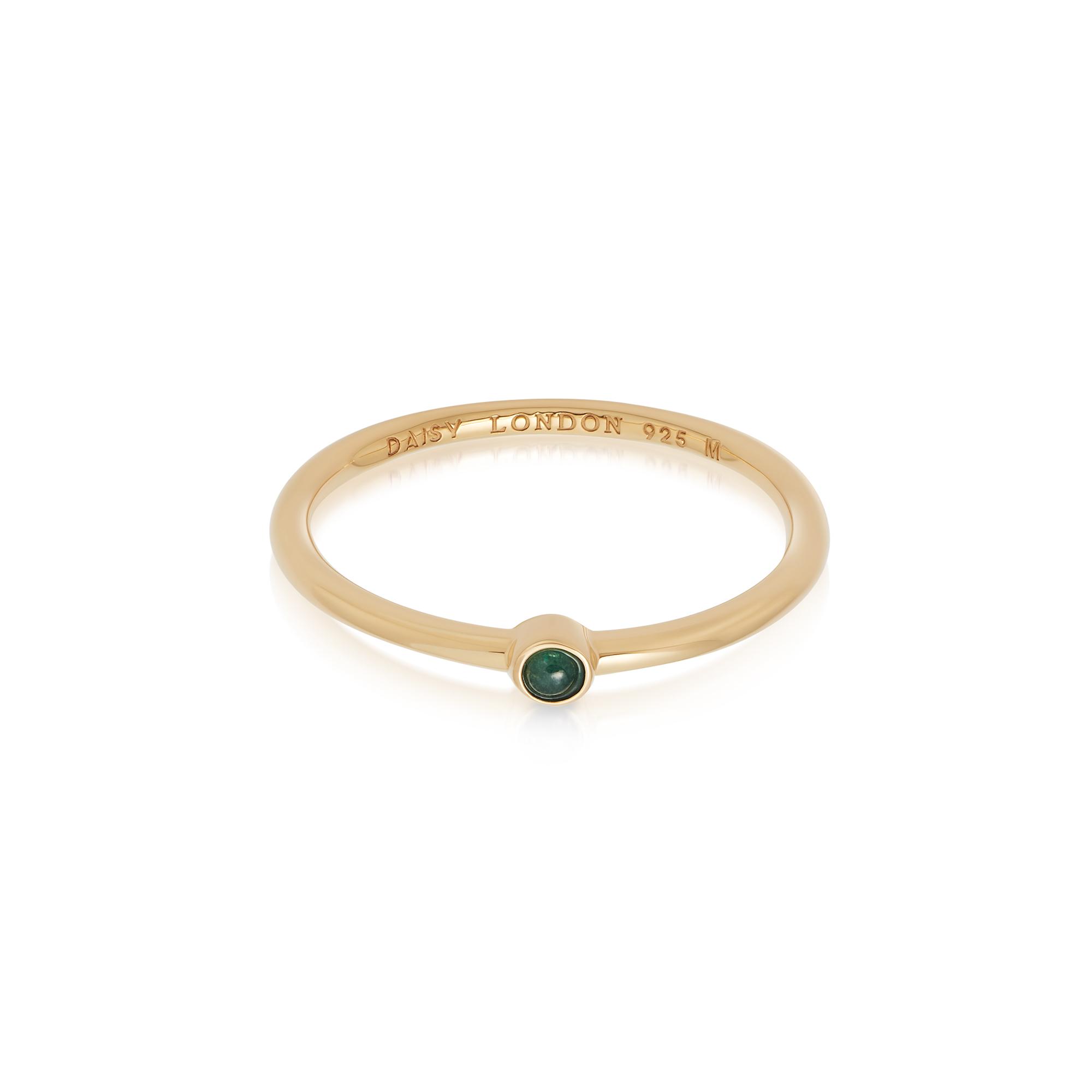 Green Aventurine Healing Stone Ring 18Ct Gold Plate L