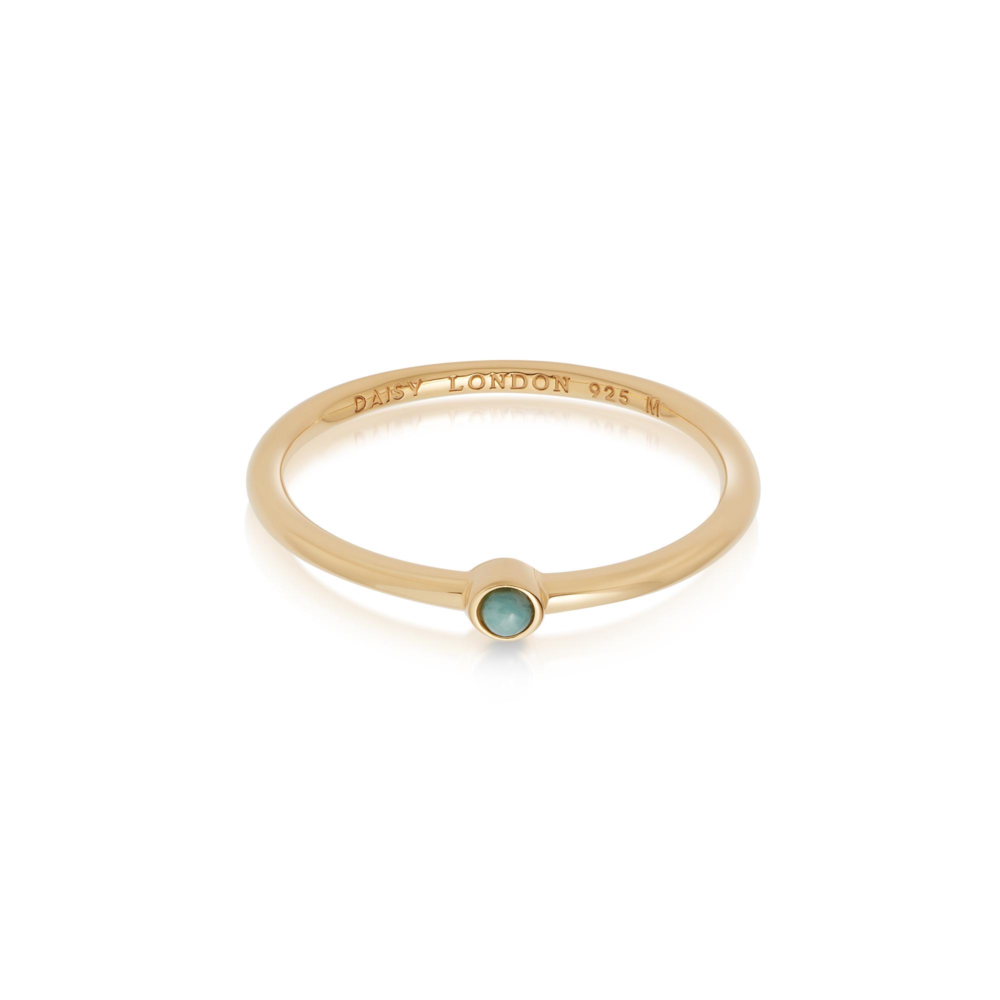 Amazonite Healing Stone Ring 18Ct Gold Plate M