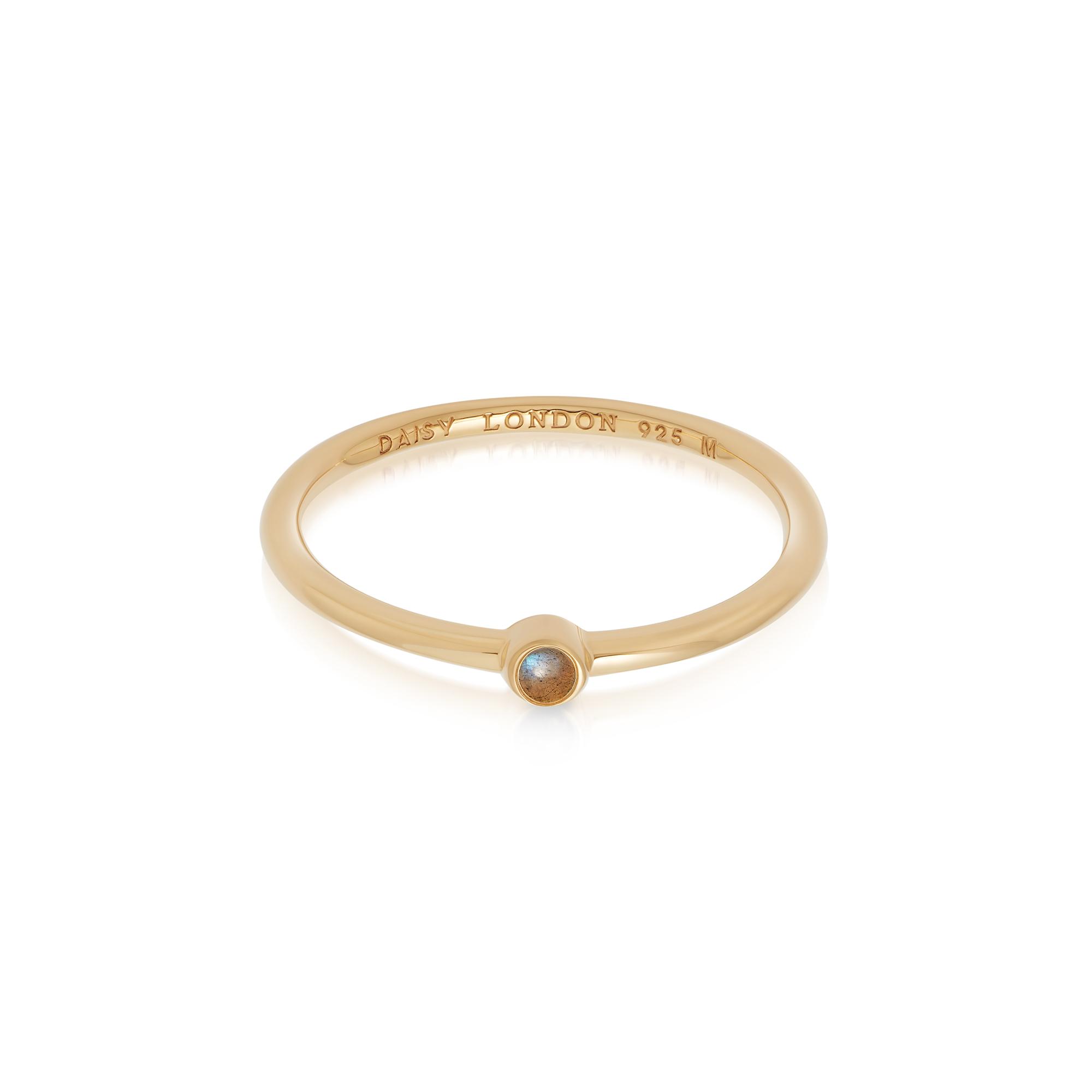 Labradorite Healing Stone Ring 18Ct Gold Plate M