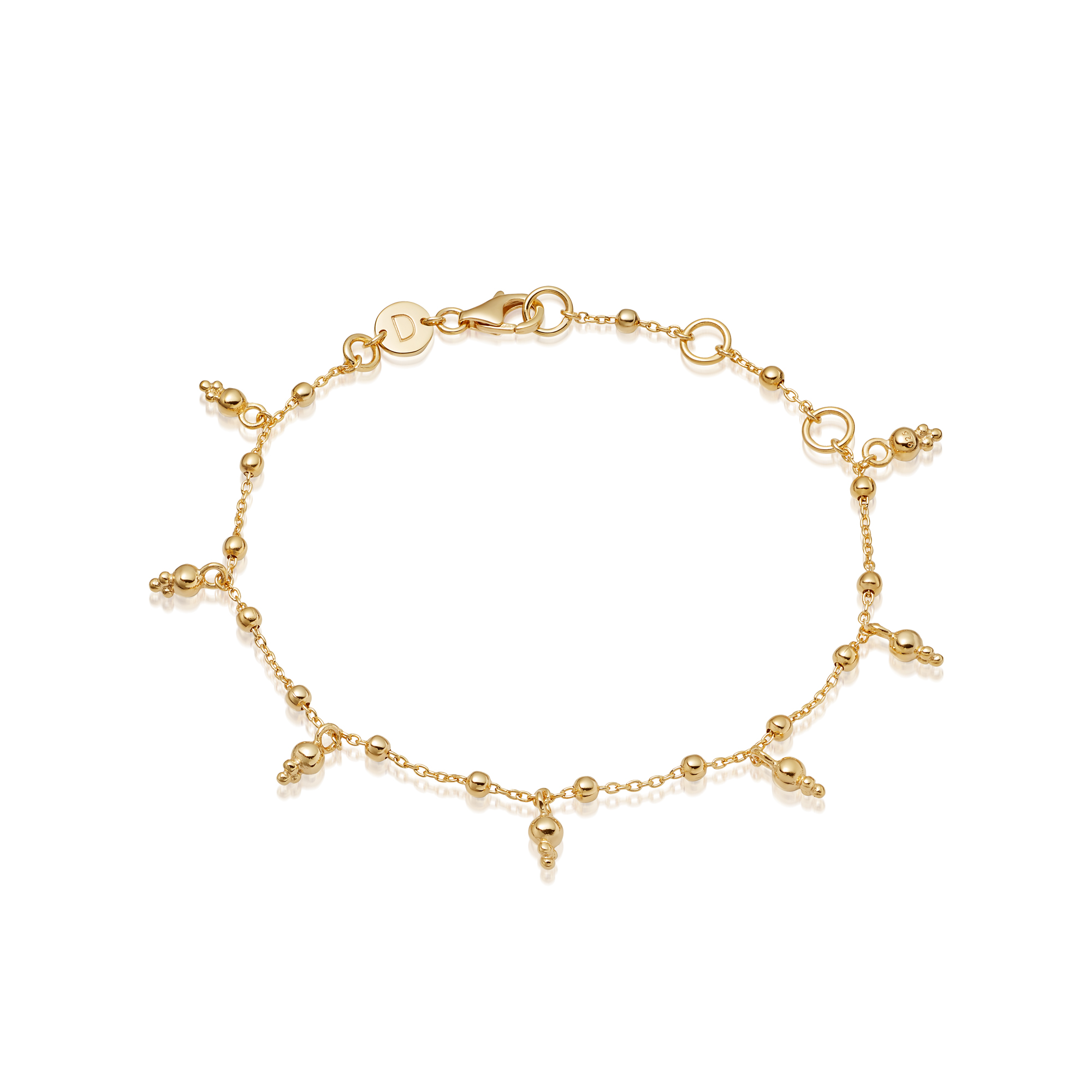 Stacked Beaded Charm Bracelet 18Ct Gold Plate