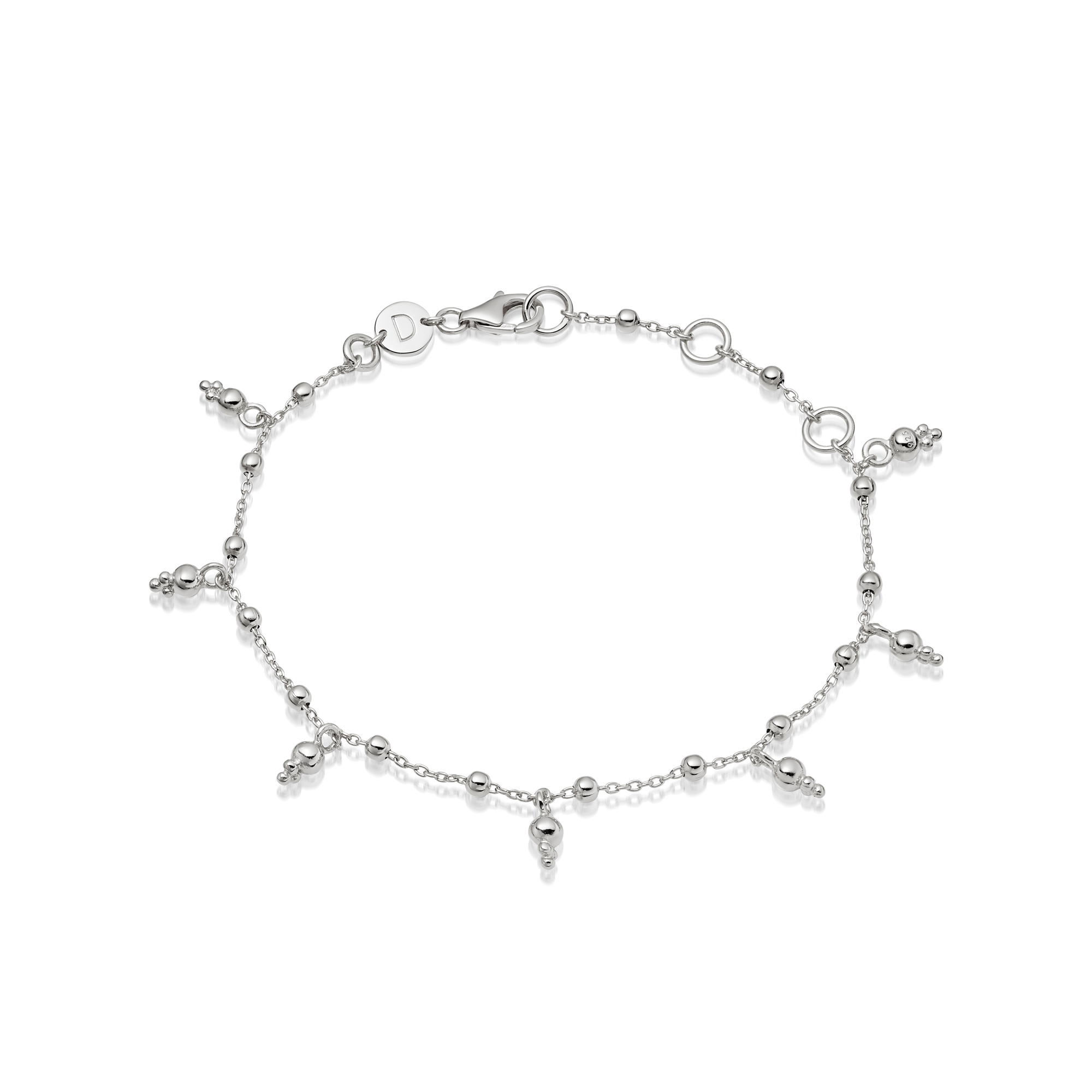 Stacked Beaded Charm Bracelet Sterling Silver