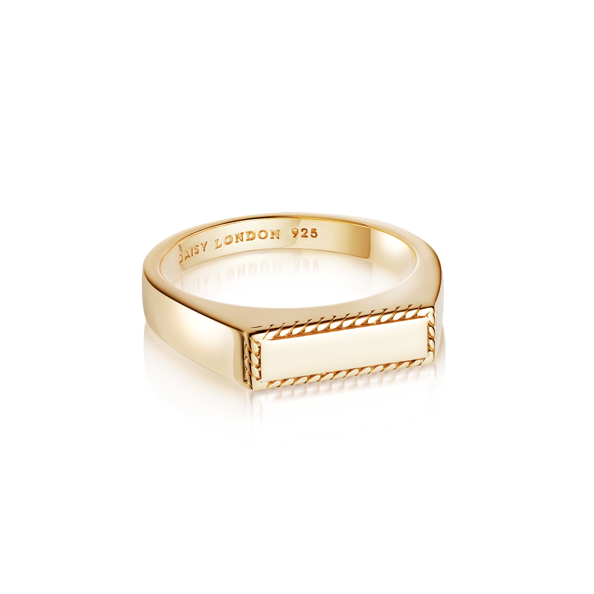 Stacked Rope Signet Ring 18Ct Gold Plate L