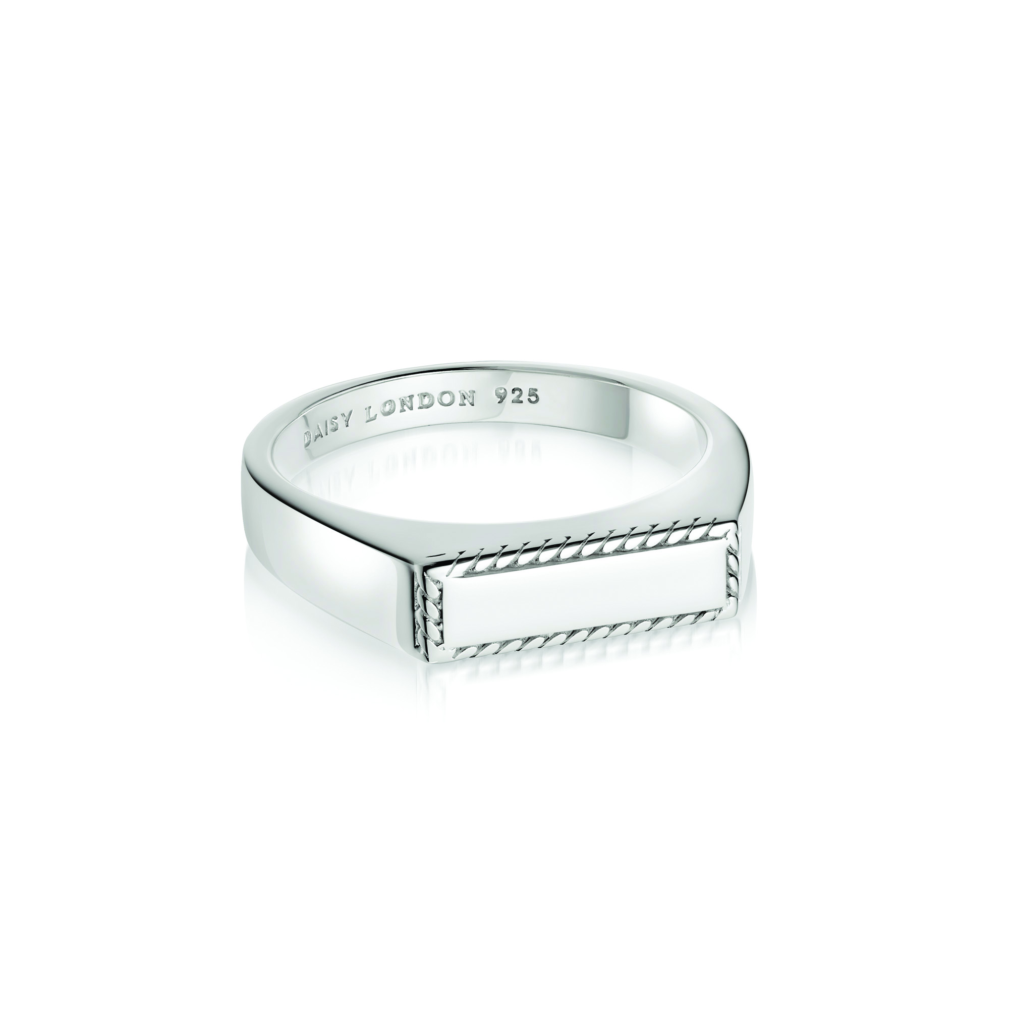Stacked Rope Signet Ring Sterling Silver S