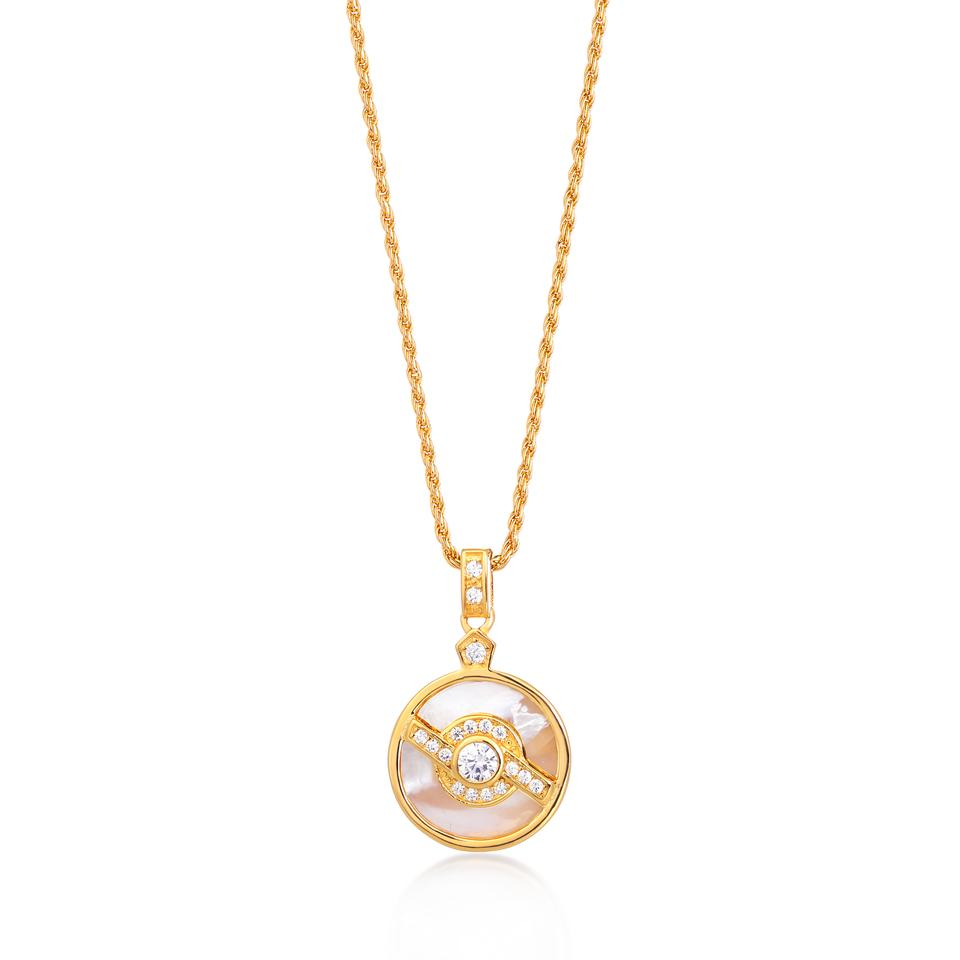 EDIE GOLD NECKLACE IN PEARL WITH ROPE CHAIN