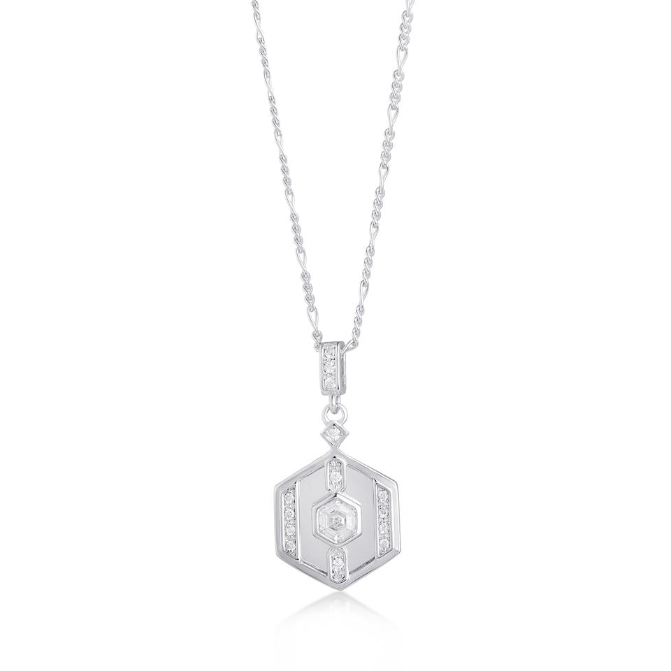 DARCY SILVER NECKLACE ON FIGARO CHAIN