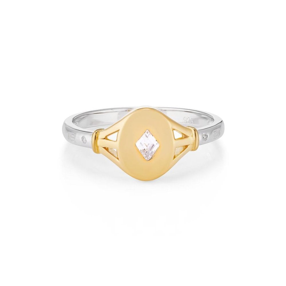TILLY TWO TONE SIGNET RING WITH WHITE STONE M
