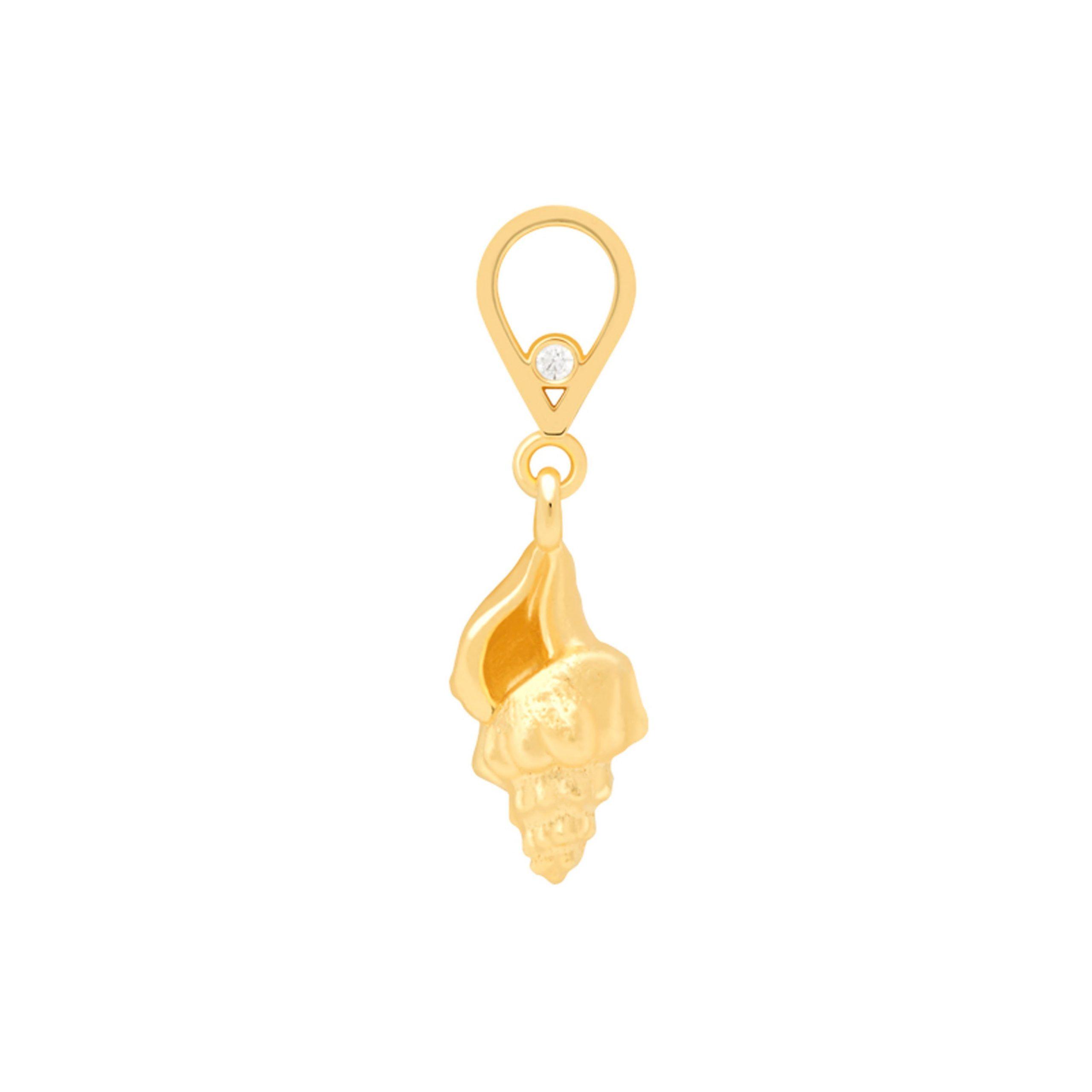 WHELK SHELL EARRING CHARM GOLD