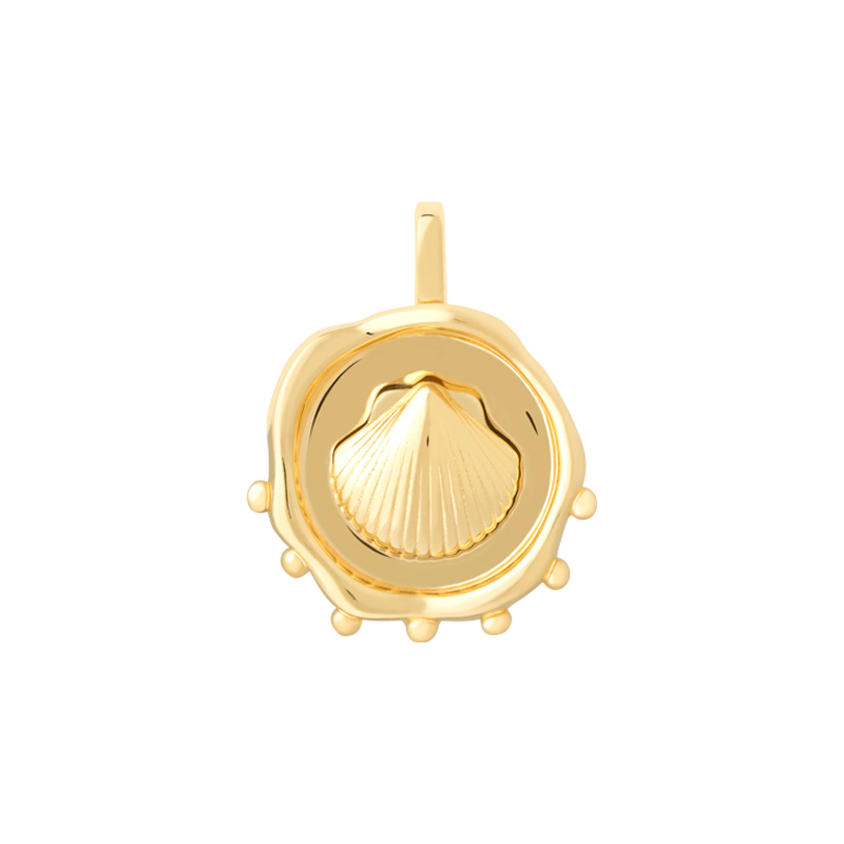 COIN SHELL NECKLACE CHARM GOLD