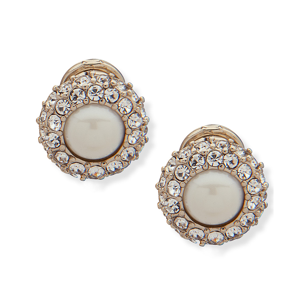PAVE BUTTON GOLD/WHITE EARRINGS
