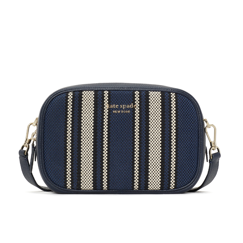 ASTRID CANVAS STRIPE MEDIUM CAMERA BAG BLUE