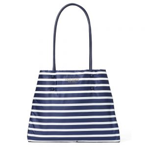 EVERYTHING PUFFY SAILING STRIPE LARGE TOTE BLUE