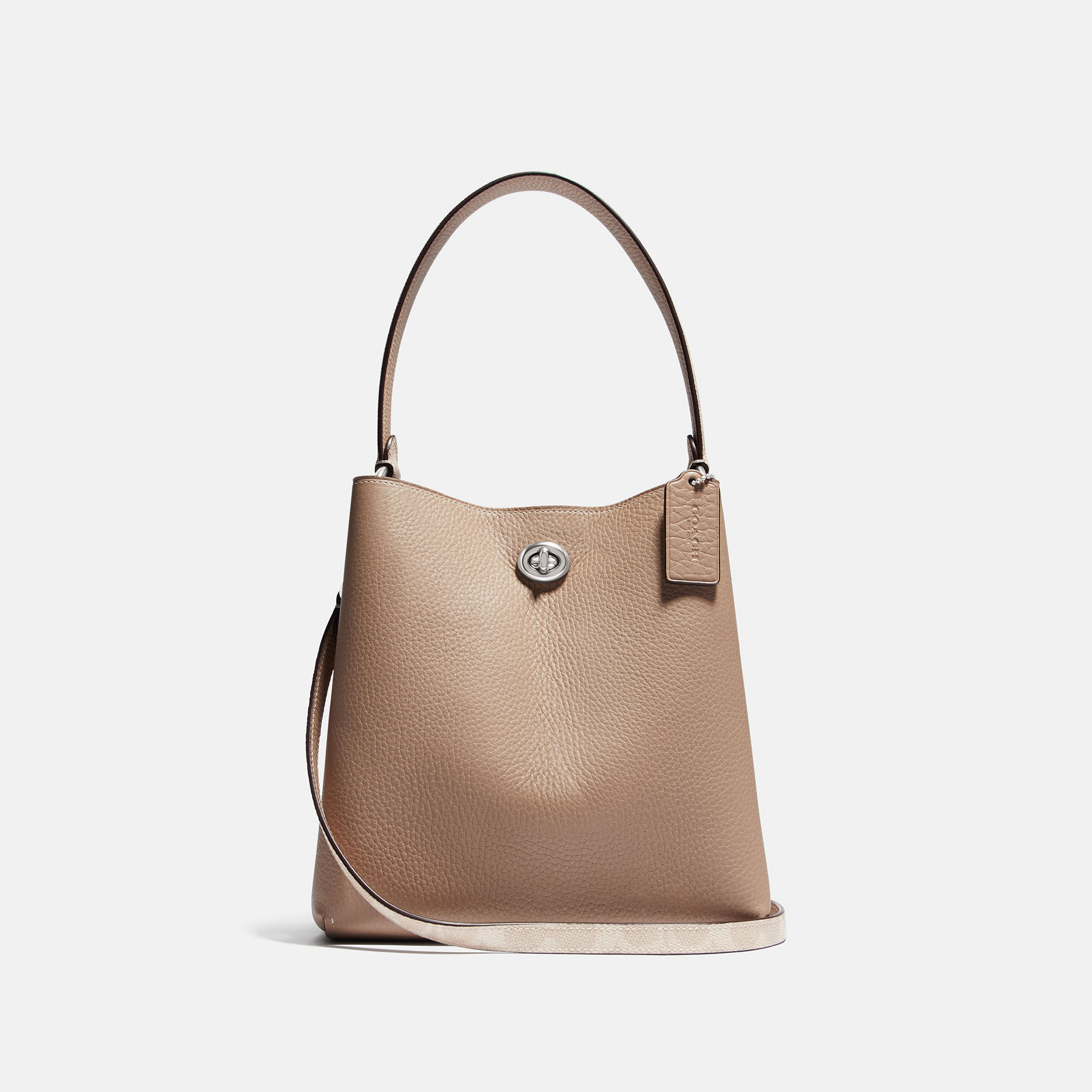 CHARLIE BUCKET BAG SIGNATURE CANVAS TAUPE