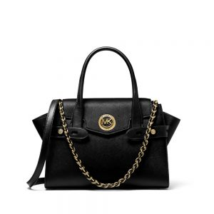 CARMEN SMALL SAFFIANO LEATHER BELTED SATCHEL - BLACK