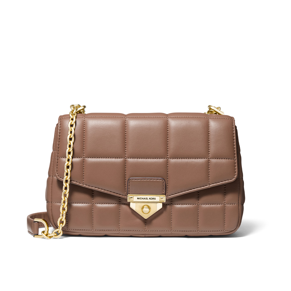 SOHO LARGE QUILTED LEATHER SHOULDER BAG - DARK FAWN