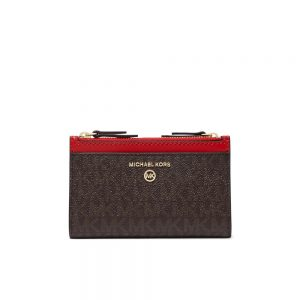 JET SET SMALL LOGO DOUBLE ZIP CARD CASE - BROWN/BRIGHT RED