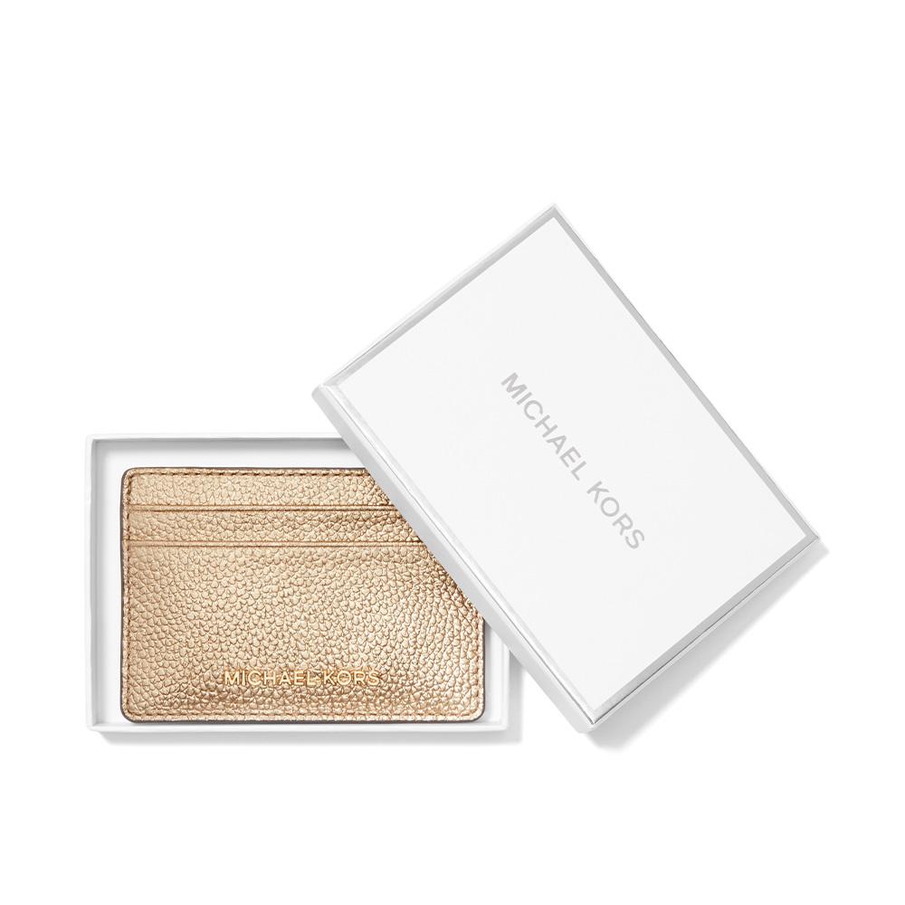 JET SET METALLIC PEBBLED LEATHER CARD CASE - PALE GOLD