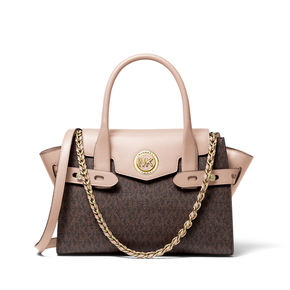 CARMEN SMALL LOGO AND LEATHER BELTED SATCHEL - BROWN/SOFT PINK