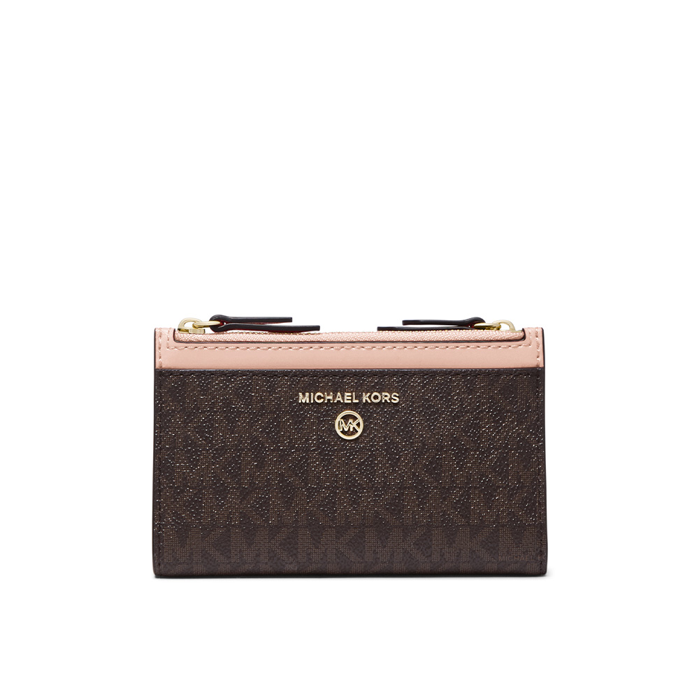 JET SET SMALL LOGO DOUBLE ZIP CARD CASE - BROWN/SOFT PINK