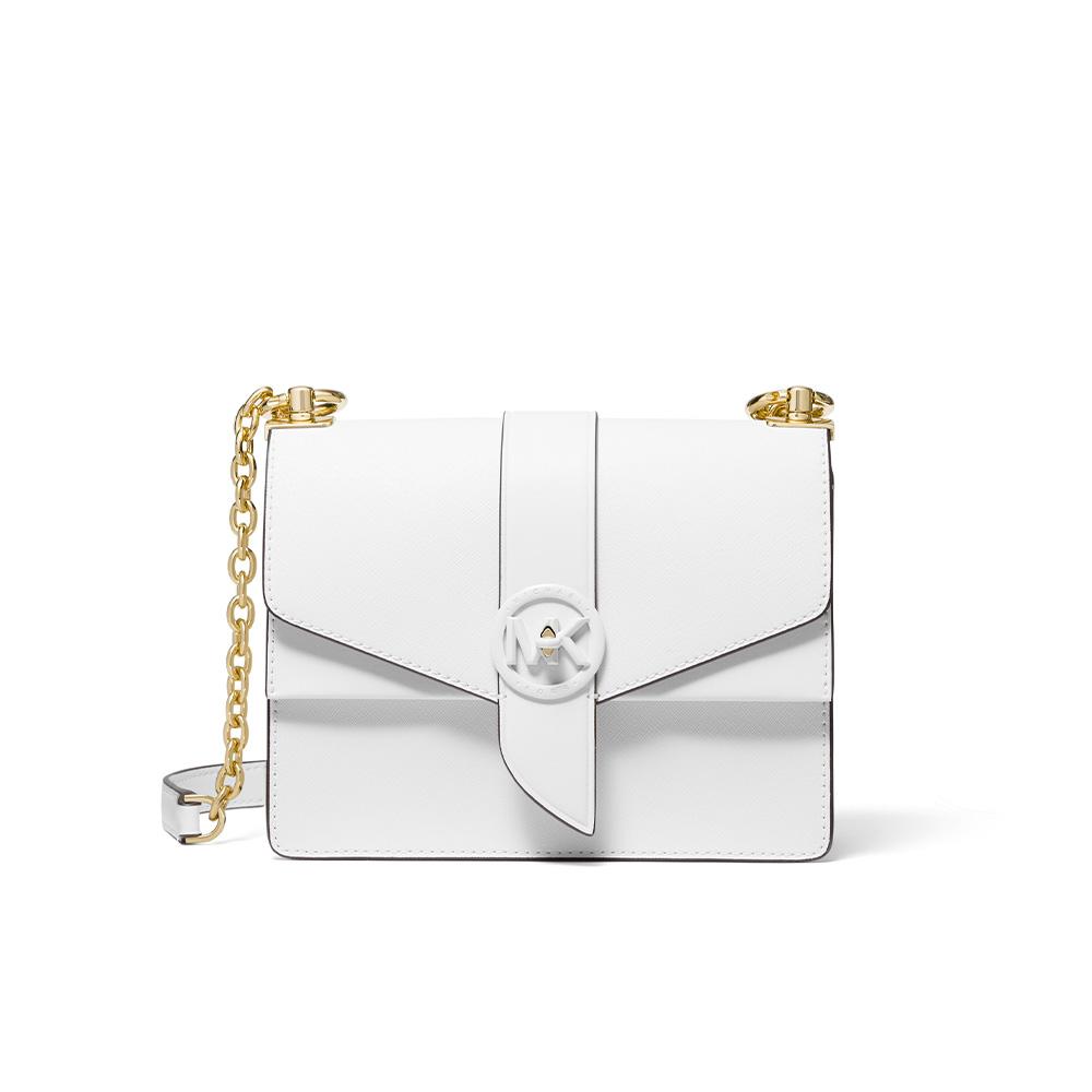 GREENWICH SMALL SAFFIANO LEATHER CROSSBODY BAG - WHITE