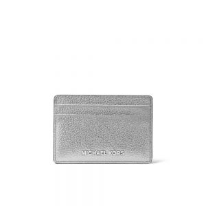 METALLIC PEBBLED LEATHER CARD CASE - SILVER