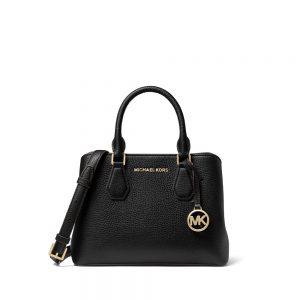 CAMILLE SMALL PEBBLED LEATHER SATCHEL - BLACK