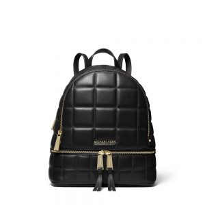 RHEA MEDIUM QUILTED LEATHER BACKPACK - BLACK