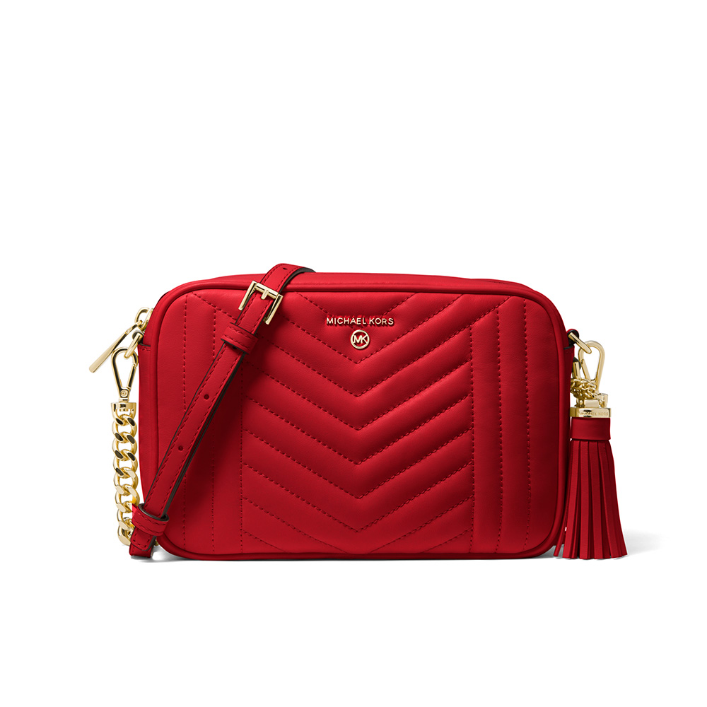 JET SET MEDIUM QUILTED LEATHER CAMERA BAG - BRIGHT RED
