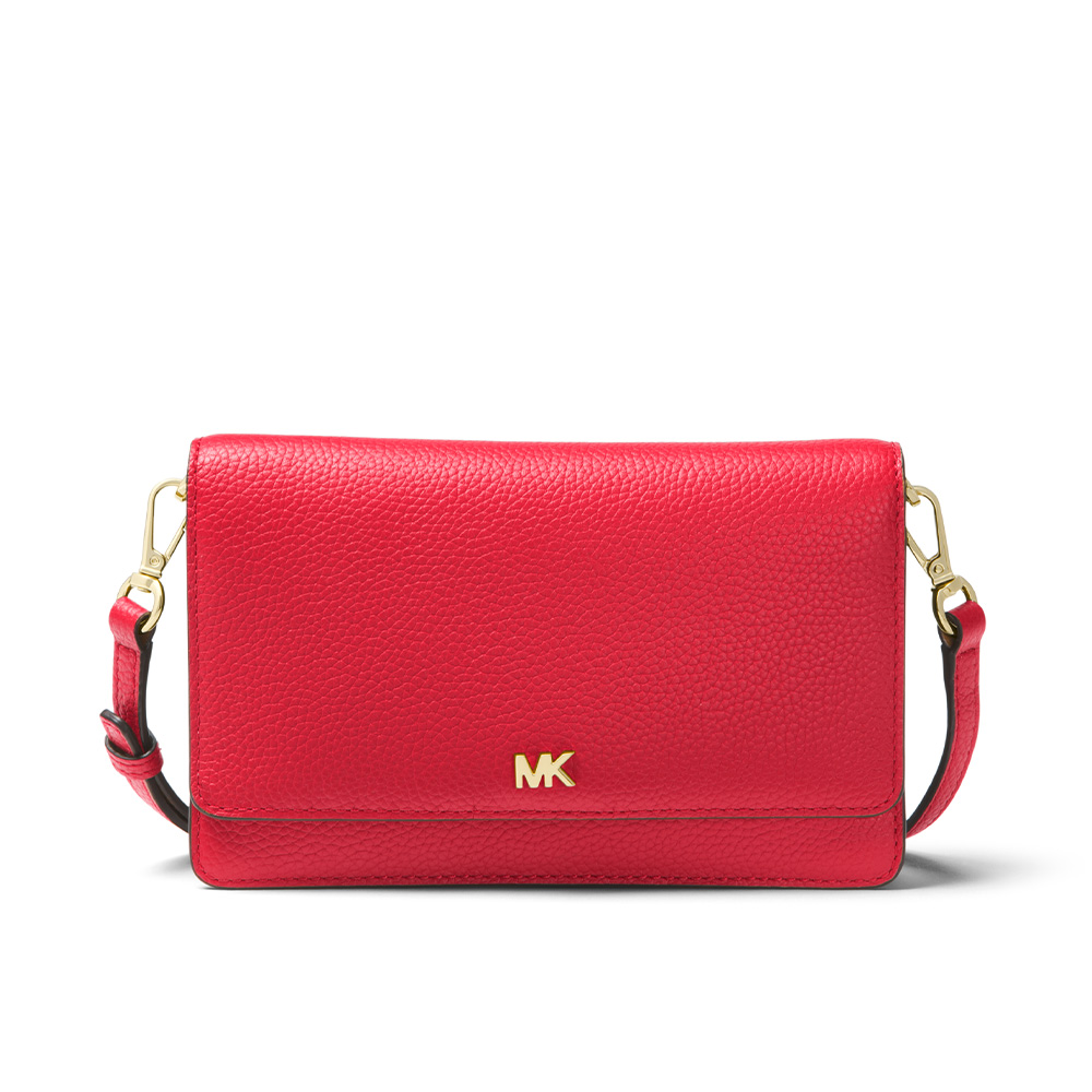 PEBBLED LEATHER CONVERTIBLE CROSSBODY BAG - BRIGHT RED
