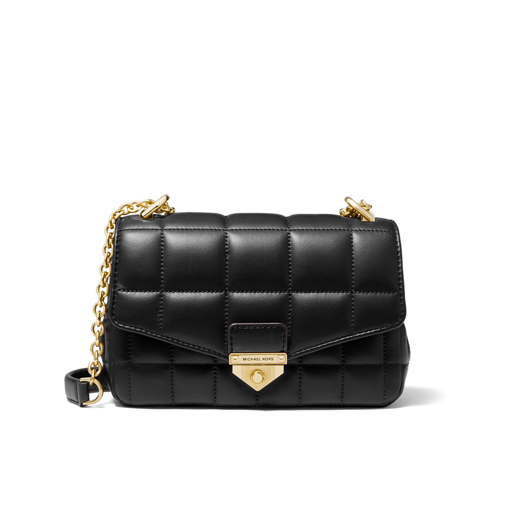 SOHO SMALL QUILTED LEATHER SHOULDER BAG - BLACK