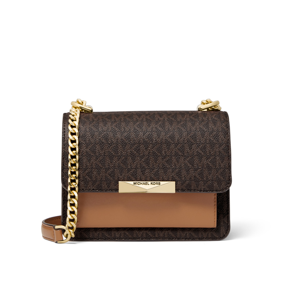 JADE EXTRA SMALL LOGO AND LEATHER CROSSBODY BAG - BROWN/ACORN