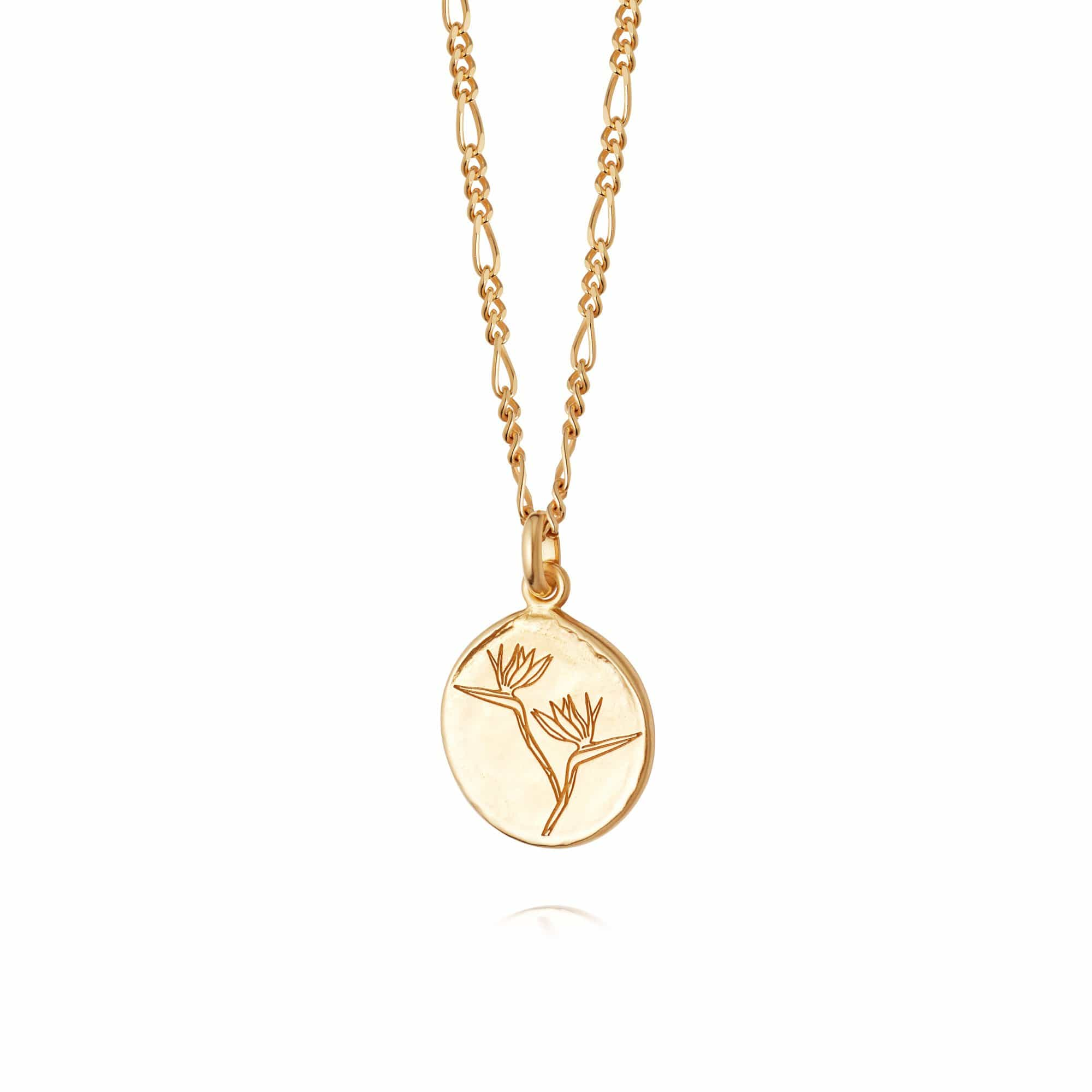 BIRD OF PARADISE FLOWER NECKLACE - 18CT GOLD PLATE