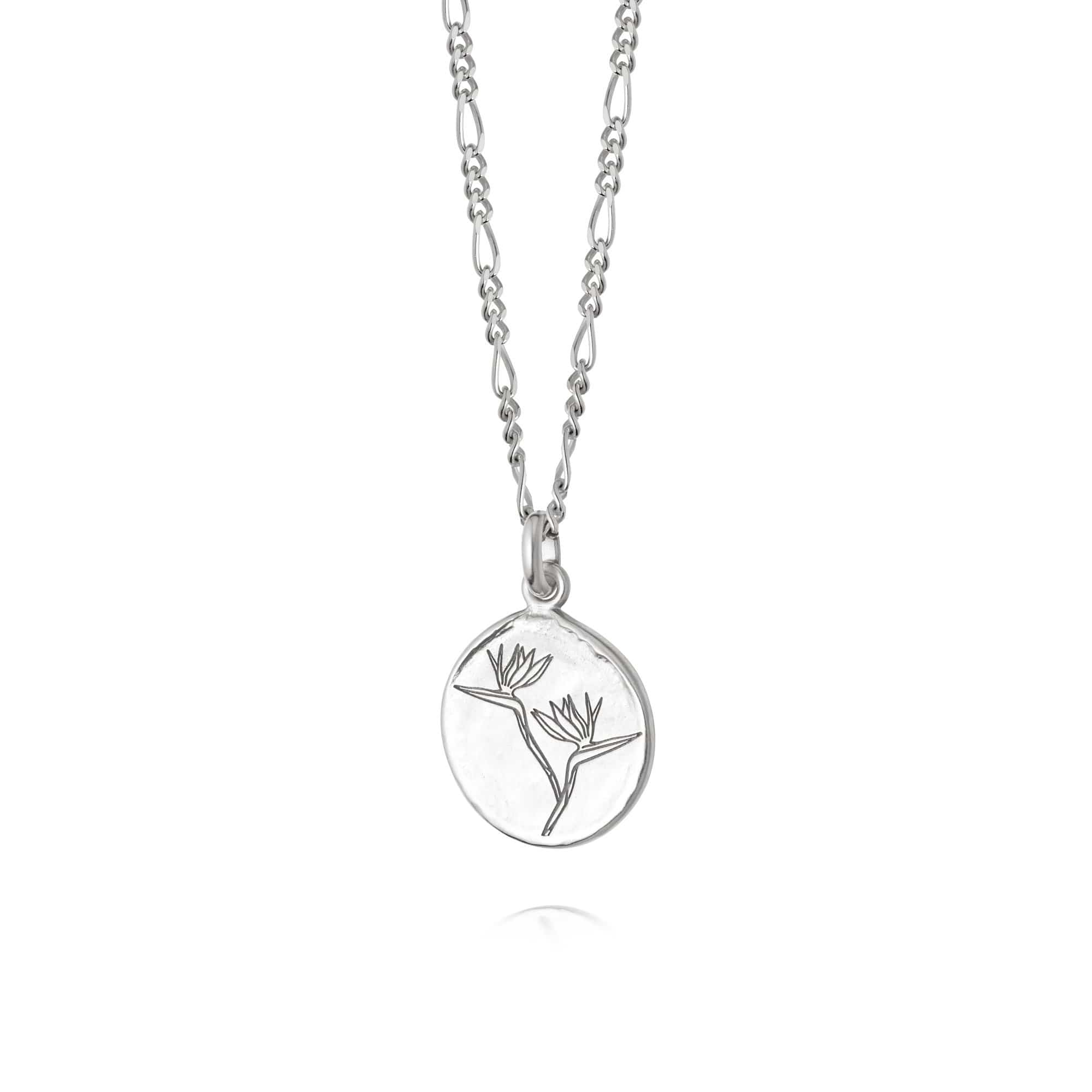 BIRD OF PARADISE FLOWER NECKLACE - STERLING SILVER