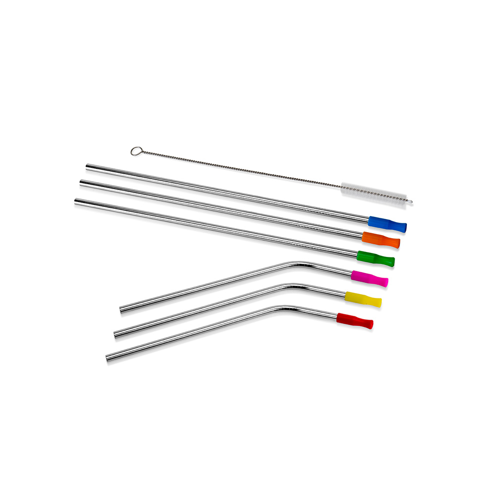 STAINLESS STEEL STRAWS SET OF 6