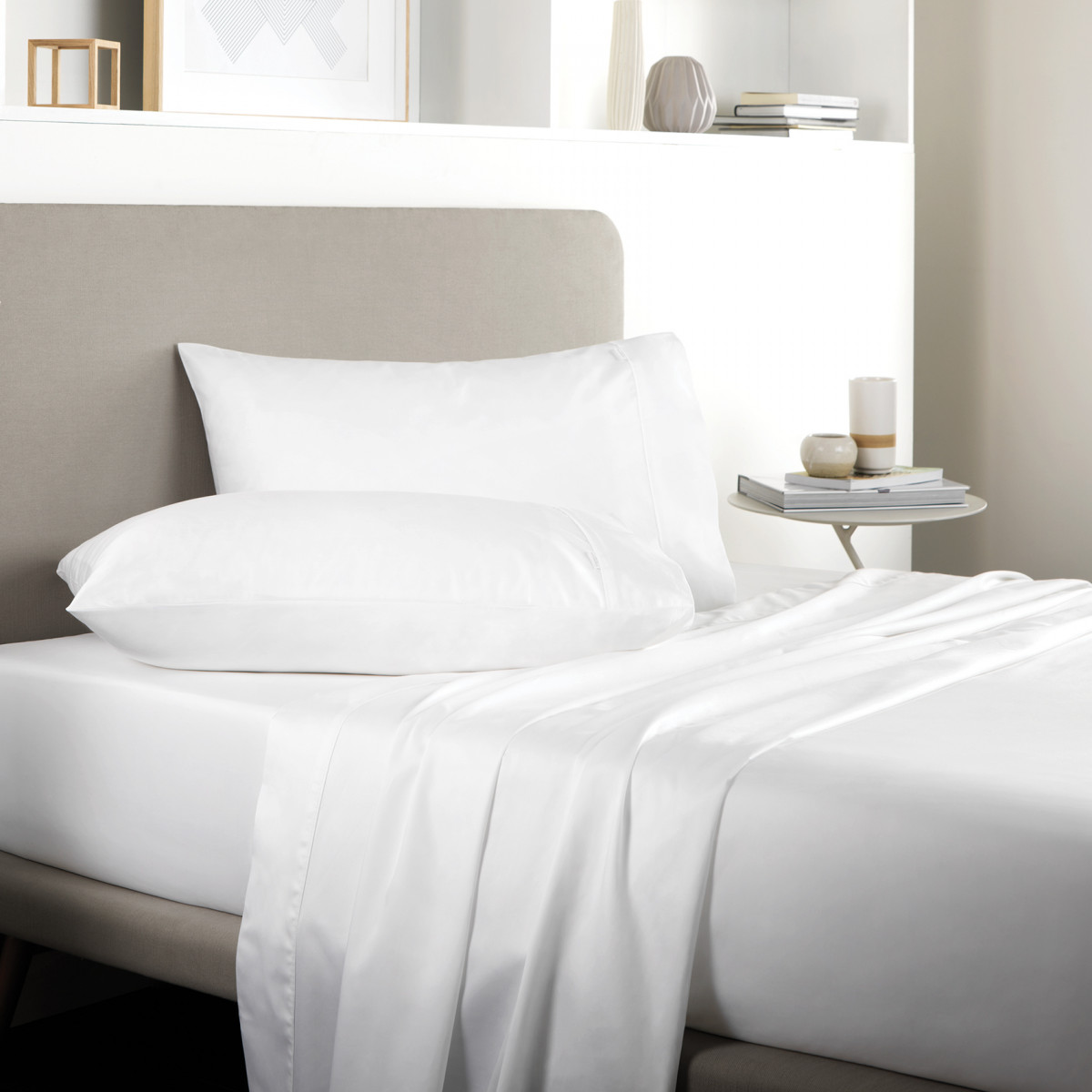 TENCEL FITTED SHEET DOUBLE - WHITE