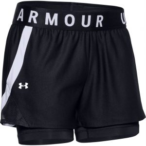 WOMENS UA PLAY UP 2 IN 1 SHORTS - BLACK