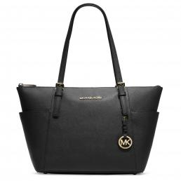Jet Set Top-Zip Saffiano Leather Tote BLACK