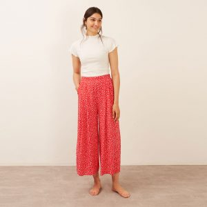 ZEENA RED AND WHITE DITSY WIDE LEG TROUSER