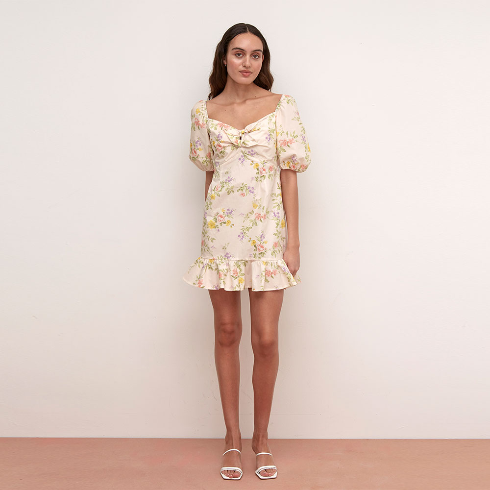 LYDIA CREAM FLORAL POPLIN TIE FRONT MINI DRESS