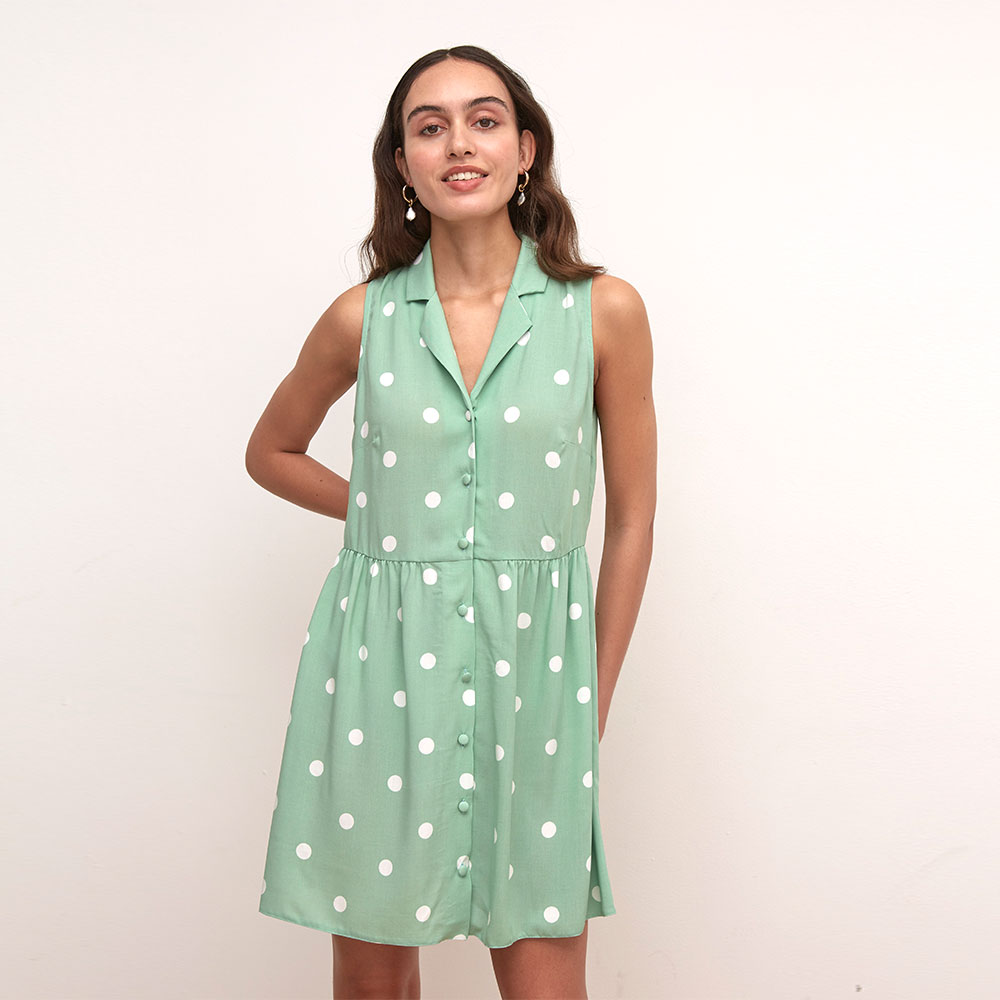LULU GREEN AND WHITE SPOT MINI DRESS