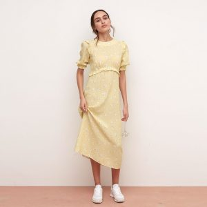FELICIA YELLOW AND WHITE FLORAL FRILL MIDI DRESS