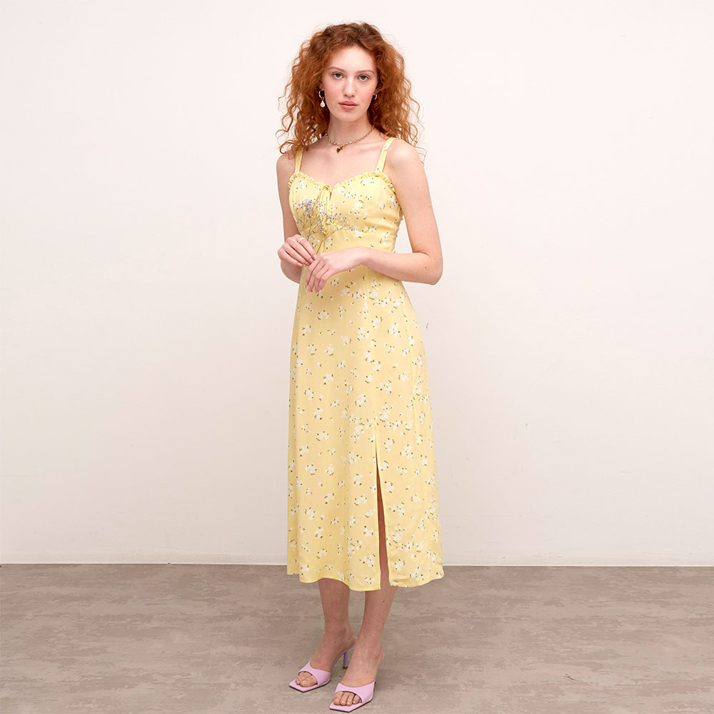 LUCIA YELLOW AND WHITE FLORAL MIDI DRESS