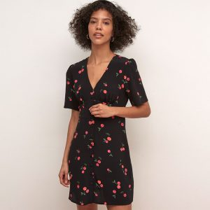 ALEXA BLACK AND RED CHERRY MINI DRESS BLACK